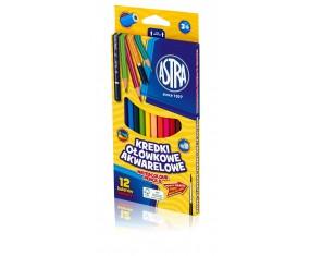 Kredki ołówkowe akwarelowe 12 kolorów Astra