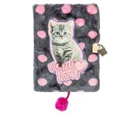 Pamiętnik z kłódką włochacz CAT A5, 96 kartek