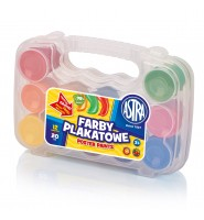 Farby plakatowe szkolne Astra 12 kolorów w walizce