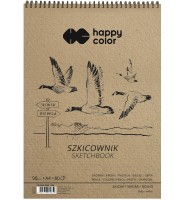 Szkicownik na spirali PTAKI A4, biały, 80 ark, 90g, Happy Color