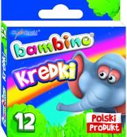 Kredki BAMBINO, 12 kolorów - świecowe/grafionowe