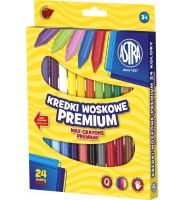 Kredki woskowe Premium 24 kolory, ASTRA