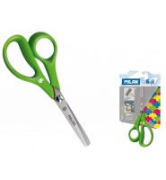 Nożyczki szkolne MILAN dla osób leworęcznych, zielone, 1 szt. na blistrze