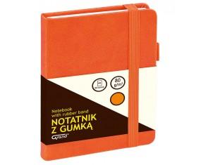 Notatnik GRAND z gumką pomarańczowy A6/80 kartek 80gm- kratka