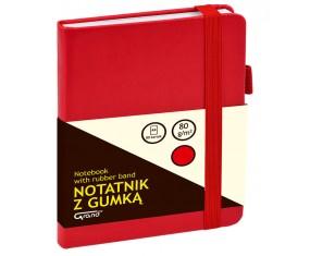 Notatnik GRAND z gumką czerwony A6/80 kartek 80gm