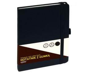 Notatnik GRAND z gumką czarny A5/80 kartek 80gm- kratka