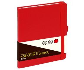 Notatnik GRAND z gumką czerwony A5/80 kartek 80gm- kratka