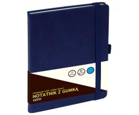 Notatnik GRAND z gumką granatowy A5/80 kartek 80gm- kratka