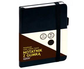 Notatnik GRAND z gumką czarny A6/80 kartek 80gm- kratka